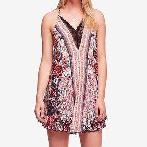 Free People Love Bird Printed Lace-Trim Dress